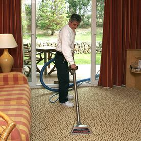 Perfect Cleaning Persona aspirando alfombra